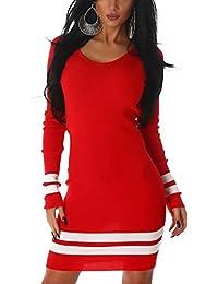 Jela London Damen Feinstrick Stretch-Kleid Longpulli in Feinripp-Optik Streifen-Muster (Einheitsgröße 34 36 38)