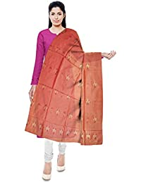 Mubarakpur Weaves' Women's Cotton Silk Handloom Dupatta (Rose Pink)