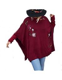 Coklico - Pull Poncho Grande Taille Brodé - Modèle Forsythia - 44 46 48 50 c8130958f660