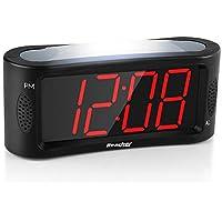 Despertador Digital, Reacher LED Reloj despertador con luz nocturna, Función Snooze, Atenuador de brillo de rango completo, 4,9 pulgadas Pantalla grande de dígitos rojos, alimentación eléctrica, Negro