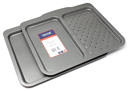 British Made with Teflon Non Stick by Lets Cook Cookware Baking Tray Twin Pack