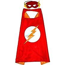 Flash Capa y máscara para niños superhéroe - Superhéroes niños niñas niños Fancy disfraz de fiesta hasta Capes para 2 A 11 Años - satinado doble capa - King Mungo - kmsc025