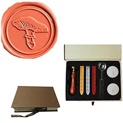mdlg Vintage Fungo Custom Immagine Logo invito di matrimonio di ceralacca sigillo timbro set kit Box Kit - America Del Sigillo
