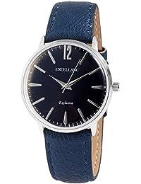 Trend de Wares de mujer reloj de pulsera Azul Plata analógico de cuarzo metal cuero mujer reloj Alemán)