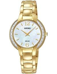 Seiko Solar Ladies Gold Gold PVD MOP Dial Watch SUP258P9