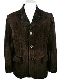 UNICORN Hommes Classique Costume Blazer Veste - Réal Cuir Veste - Marron #3V