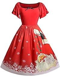 POLP Navidad Mujer Vestidos Vestido navideño con Estampado de Papá Noel y Estampado de Talla Grande