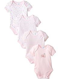 SpaSilk Baby Girls' 4 Pack Flower Bodysuit