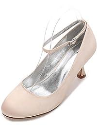L@YC Zapatos de Boda de Las Mujeres E17061-12 Satén Punta Redonda Plana Punta Estrecha Hebilla Zapatos de La Corte de Trabajo de Verano Elegante