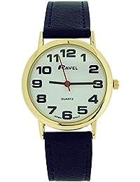 Montre Ravel pour Femme Grand Cadran Blanc et Bracelet Bleu Marine avec Boucle