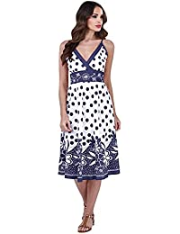1beb7881d Pistachio Womens Cross Over Cotton Midi Dress Floral Spotted Ladies Evening Summer  Wear Dresses