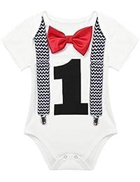TiaoBug Mameluco de Bebé Caballero Blanco con Estampado Número 1 Traje  Pelele para Recién Nacidos Primer Cumpleaños Manga… dc185f57ad23