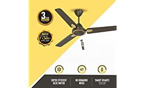 Gorilla Efficio+ Energy Saving 5 Star Rated 3 Blade Ceiling Fan With Remote Control and BLDC Motor, 1200mm- Earth Brown