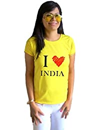 LetsFlaunt LF I love india yellow T-shirt Girls Dry-Fit Nw