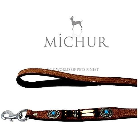 MICHUR CARLOTA guinzaglio per cani, guinzaglio in pelle per cani, guinzaglio del cane con la pietra blu e perle tondei, colore marrone, cuoio