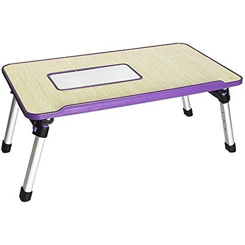 LLYY-Moda portatile scrivania letto dormitorio di una scrivania studio thermal pigro semplice tavolino pieghevole pieghevole Purple