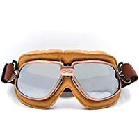 4c01498074a79 BJ Global Retro Style Motorcycle Goggles Motorbike Flying Scooter Aviator  Helmet Glasses Silver Lens