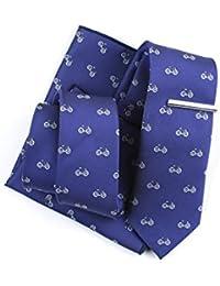 SKNSM hidalgo Patrón de bicicleta de dibujos animados hombres conjunto de corbata Bicicleta impreso corbata informal Conjunto de clip de corbata de pañuelo para conjuntos de Tie