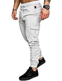 Socluer Cinturón de algodón elástico de los Hombres Pantalones de Carga  Largos con cordón Bolsillos Laterales f87647aa151e