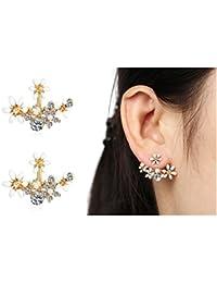 Shining Diva Fashion White Crystal Stylish Fancy Party Wear Stud Earrings For Women & Girls(8846er)