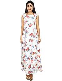 LondonHouze Floral Printed Maxi Skater Dress White