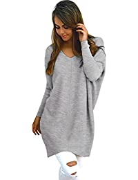 Reaso Pull Casual Femmes Rétro Manches Longues Pullover Gilet Col Rond Sweater En Tricot Top Coton Blouse Elegant Chemise
