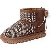 zj Botas de Nieve para Niños Calzado de Invierno para Niños Lentejuelas para Niños Botas para la Nieve Más Chicas de Algodón Calzado de Algodón Ligero Zapatos de Moda,marrón,29
