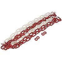 Cadena de plástico de 3,8 m con barrera de seguridad comercial para control de la multitud, línea de cola roja + blanca AOD