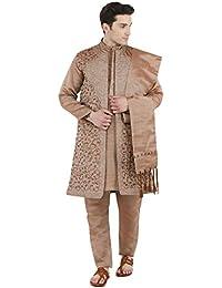 Kurta Pijama Sherwani robaron Set Marrones Indias Sherwani Wedding Party 4-Piezas Dress -l