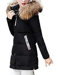 FNKDOR Doudoune Femme Hiver Chaud Longues Manteau avec Capuche Col Fausse  Fourrure Épais Zippé Parka Blouson b1cc711be1f3