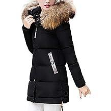 FNKDOR Doudoune Femme Hiver Chaud Longues Manteau avec Capuche Col Fausse  Fourrure Épais Zippé Parka Blouson 5e404f8670d