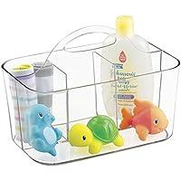 mDesign Cesta de bebé – Cesta organizadora de juguetes, champú, termómetro, cremas - Bolsa de bebé transparente