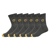 GLINTO Men's Premium Cushioned Cotton Athletic Crew Socks, (6 pack,Free Size, Grey)