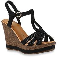 Damen Keilsandaletten Lack | Sandaletten Blumen Glitzer | Plateau Keilabsatz Sandalen | Plateauschuhe Metallic Strass | Wedges Schuhe | Flandell®
