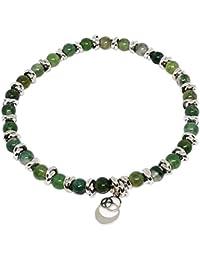 Cloto Summer Vibes Green Thursday bracciale con pietre Agata Verde 4mm e charm in argento 925 My Silver