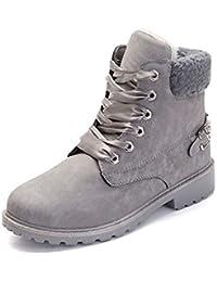Botas Nieve Mujer Otoño Invierno Calentar Piel Forro Botines Retro Snow Boots Cordones Zapatillas Planas Caqui Gris Rosa 36-41
