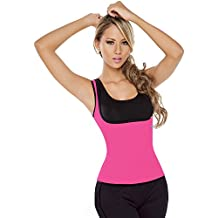 Womens neopreno faja reductora cintura corsé deporte ultra sudor camiseta de tirantes sudor chaleco reversible para pérdida de peso, rosa, medium