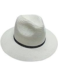 29c3ecbc0c42 ACVIP Men Women Wide Brim Straw Fedora Panama Hat Cap with Black PU Band