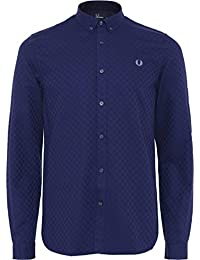 Fred Perry Hombres Chequerboard Shirt Azul