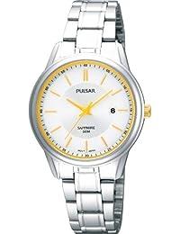Pulsar Uhren Klassik PH7185X1 - Reloj analógico de cuarzo para mujer, correa de acero inoxidable color plateado