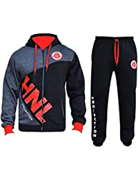 a74f60157e Mens Tracksuit Set Hoodie Zip Up Top Bottom Sports HNL Jogging Suit Fleece  Jogger