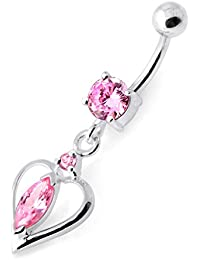 Piercing India Pink CZ Stone Heart Shape Dangling Design 925 Sterling Silver Belly Ring Body Jewelry