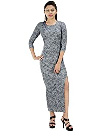 Fashion Parakeet | Womens Western Wear | Black Stretchable | Maxi Dress | Slim Fit | Dress | Bodycon