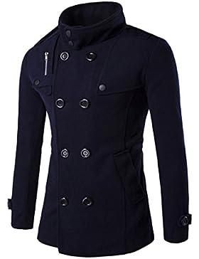 OverDose Hombres Otoño Invierno Doble fila Botón de cuello de lana abrigo suéter Top Blusa