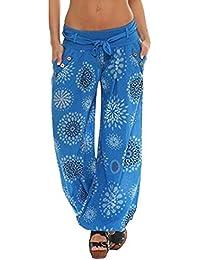 Chettova Mujeres Sueltas Impreso Pantalones de Bolsillo de Las señoras de Moda Pantalones de Las Polainas