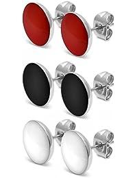 1 Paar runde Ohrstecker Ohrringe rund Herz schwarz weiß rot gelb pink türkis