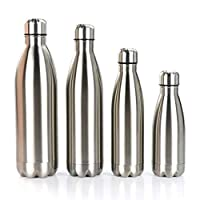 Gtell Double Wall 18/8 Stainless Steel Vacuum cola shape bottle, narrow mouth thermos flask keeping warm and cold 350ml 500ml 750ml 1000ml (1L)
