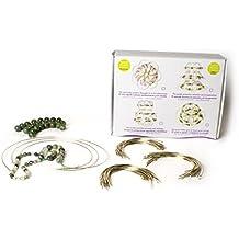 Mándala tibetano alambre. Tres coronas desiguales, Jade y cuarzo verde. Para montar. Flor de loto minerales naturales. DIY.