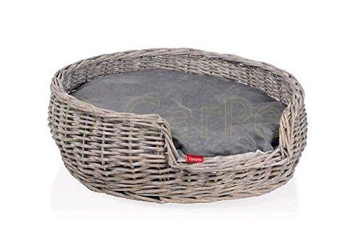 *Katzen Weidenkorb Hund Katze Welpen Korb Hundekörbchen grau rund 50 cm*