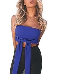 986fd5a39f8 Women s Boob Tube Strapless Bandeau Crop Top Sleeveless Bow Tie Vest Bra  Crop Top Cami Camisole